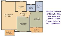 Anik One Rajarhat Newtown, Kolkata 2 BHK Floor Plan