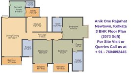 Anik One Rajarhat Newtown, Kolkata 3 BHK Floor Plan 2073 Sqft