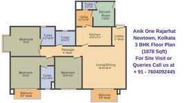 Anik One Rajarhat Newtown, Kolkata 3 BHK Floor Plan 1878 Sqft