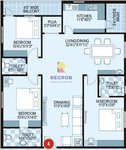 3 BHK Floor Plan Prime Galaxy