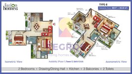 2 bhk floor plan fusion homes