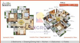 3 bhk floor plan fusion homes