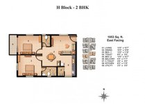 Floor Plan Of 2BHK Of Jain Carlton Creek