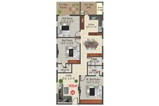 Floor Plan Of 3 BHk Apartment In RNR Fort View Towers