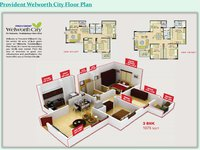 provident welworth city 3 bhk floor plan
