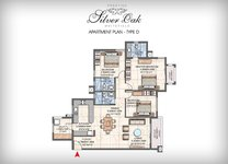 Prestige Silver Oak Floor Plan 3 BHK