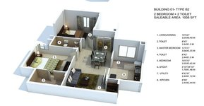 provident the tree 2 bhk florr plan
