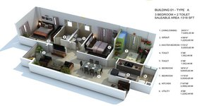 provident sunworth 3 bhk floor plan