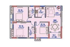 Floor Plan For 3 BHK Apartments