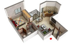 Floor Plan of 1 BHK Apartment