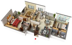 Floor plan of 3 BHK Apartments