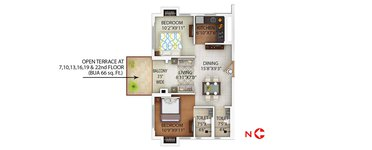 2 BHK PS Alcove Flora Fountain