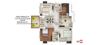 3 BHK PS Alcove Flora Fountain