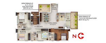4 BHK PS Alcove Flora Fountain