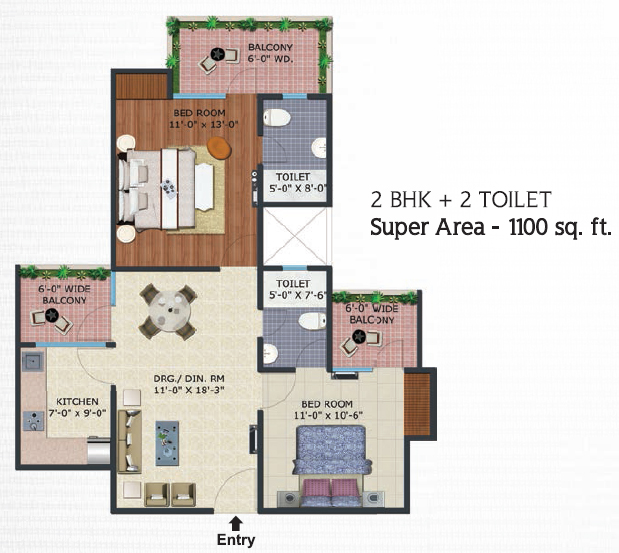 Supertech eco village 2 regrob for 1100 sq ft apartment floor plan