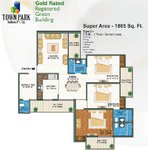 White Orchid Noida Extension 3BHK Floor Plan