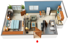 1 BHK Floor Plan NR Windgates