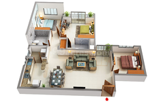 3 BHK Floor plan NR Windgates