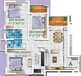 3 BHK Floor Plan of Rajwada Altitude