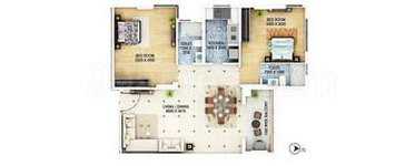 2 BHK Floor Plan Signum Cloud 9