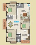 3 BHK Floor Plan of SLV Serenity