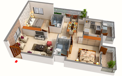 2 BHK Floor plan of Aryav Crosswinds