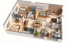 3 BHK Floor Plan of Aryav Crosswinds