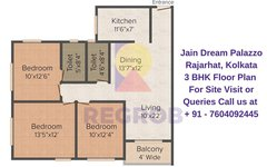 Jain Dream Palazzo Rajarhat, Kolkata 3 BHK Floor Plan