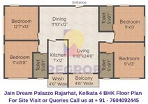 Jain Dream Palazzo Rajarhat, Kolkata 4 BHK Floor Plan
