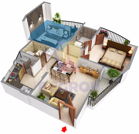 2 BHK layout of Sowparnika Swastika