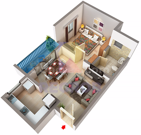 1 BHK Layout of Bren Champions Square