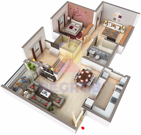 3 BHK layout of Bren Champions Square