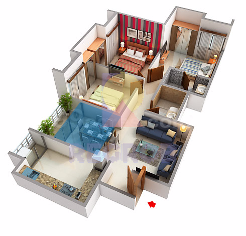 Assetz 63 Degree3 BHK layout
