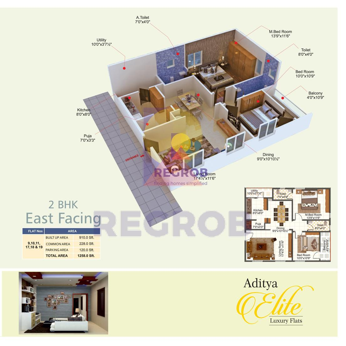 Aditya Elite 2 BHK Floor Plan