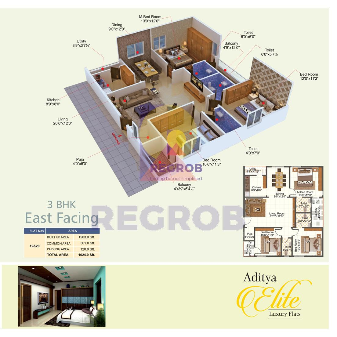 Aditya Elite 3 BHK Floor Plan